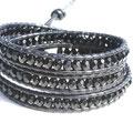 cuir noir et perles cristal de bohème black