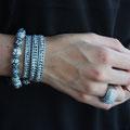 Cuir gris Métallisé et perles Light Argent