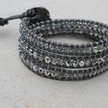 Cuir gris Métallisé et perles Light cristal