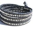 3tours Cuir noir et perles japonnaises hexagonales hématites 45€