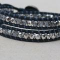 Cuir Vintage Jeans et perles Light Argent