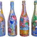 """""""bottiglie per le...feste"""" acrilici su vetro e tratto in carboncino"""