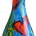"""""""la bottiglia di Pina"""" acrilico e carboncino su vetro"""