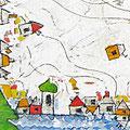 """""""Sovrapposizioni per Daniela e Lorenza"""" incisioni su gesso acrilico colorato con acrilico e matite cm50x50 (part.)"""