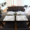 Extendable table can host up to 8 guests