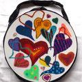 Von Herz zu Herz zu Herz mit Türkis- u. Rosenquarzsplitter, Buchstabenperlen u. Herz-Knöpfe