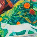 Chat blanc parmi les roses (Suisse - Schüpfen) - circa 1995 - Hst - 65/81 - ©Adagp Paris 2014