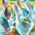 Les oies grises - circa 1985 - Pastels à l'huile - 41/32,5 - ©Adagp Paris 2014
