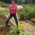 Denise weeding
