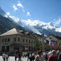 Busy high street in Chamonix, France