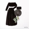 Babybauchkleid schwarz mit Oberteil, Hut und Tüllrock