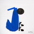 Langes Babybauchkleid aus blauem Chiffon