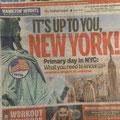 """Aus """"AM New York"""", der U-Bahn-Zeitung: Der Stolz der New Yorker, ebensolche zu sein, ist überall präsent."""