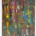 ohne Titel - 50 x 70 - Acryl, Pastellkreide, Kohlestift auf Leinwand