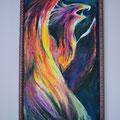 Flammenvogel, Leinwand auf Keilrahmen, 50 cm x 1,00 m