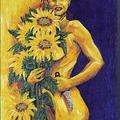 1999; Steff im Sonnenblumenland, Acryl auf Leinwand