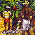 1998, Fisherman at Turtlebeach, Tobago, Acryl auf Leinwand