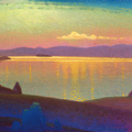 GOLDEN EXPANSE 2002 (pasteboard,oil on canvas) 24x60