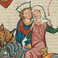 Große Heidelberger Liederhandschrift fol 69r: Eine der vielen Darstellungen des Zinnenhutes