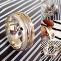 Zilver met zirkonia, gehamerd met twee losse ringen