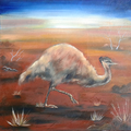 Emu, 30 x 30 cm, Öl auf Leinwand