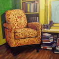 "Living ROom Study, acrylic on panel, 14""x11"", 2013"