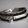 [No. 2] Mehrreihiges Armband mit Leder. Preis auf Anfrage