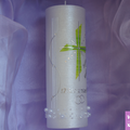 Hochzeitskerze Perlmutt mit grünen Kreuz und Perlenkette Teelicht