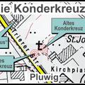Standortskizze der beiden Konderkreuze. Das alte Konderkreuz steht im Gestrüpp und ist wohl im Lauf der Jahre in Vergessenheit geraten.