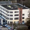 """Romika Schuhfabrik. Das innovative Konfektionsgebäude von 1929. Die """"runde Ecke"""" war damals hochmoderne Architektur!"""