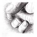 Dessin d'après 'Les mains de l'artiste', Henry Moore - Graphite