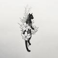 Dessin tatouage chat et fleurs