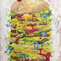 飽食 (2012) 個人制作  アクリルガッシュ クラフト紙 水彩 色鉛筆