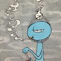 喫煙(2014)  初出:ワルイモノ展 アクリルガッシュ サンドペースト