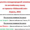 "Международная олимпиада от проекта ""Videouroki.net"", апрель 2015."