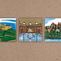° Titelillustrationen für Geschäftsbericht Sparkasse Staufen-Breisach (Farblinolschnitt)
