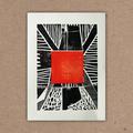 """° 2-Farb-Linolschnitt zu """"Elsewhere"""" von R. Federman (Multiple Federman-Boxxx / Kooperation mit Dirk Görtler und Armin Koch)"""
