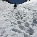 40度の雪渓に汗が噴き出る。