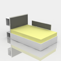 RENDERING - HEADBOARD AND SIDE PROTECTION COVERED WITH PADDED