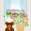 窓辺の風景 クマのぬいぐるみ