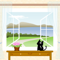 窓辺の風景 猫