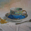 La taza azul,Temple sobre tabla./The blue cup,Tempera on panel.
