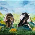"""""""De ratten"""" 2018, acryl en inkt op linnen, 18x24cm NIET BESCHIKBAAR"""