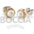 Ohrtsecker Titan goldplattiert mit Süßwasser-Zuchtperle von Boccia