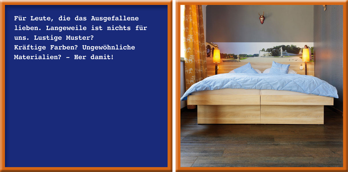 Zwei Rahmen: Links Text über den Individualist. Rechts Schlafzimmer mit Fubodenbelag und Bett.