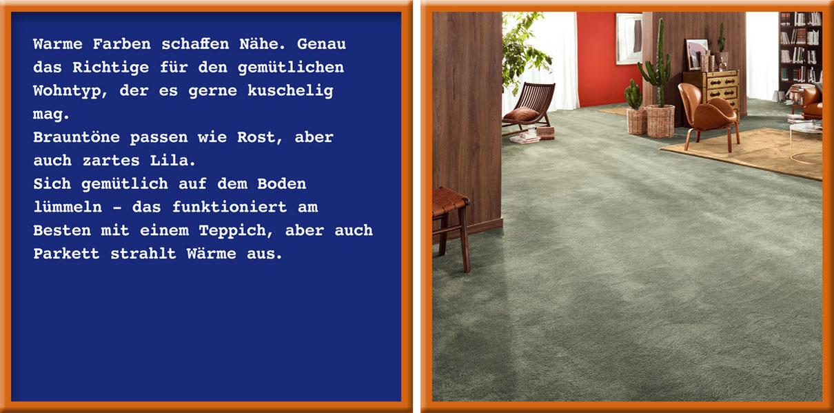 Zwei Rahmen: Links Text über den Gemütlichen. Rechts eingerichtetes Wohnzimmer mit Teppichboden.