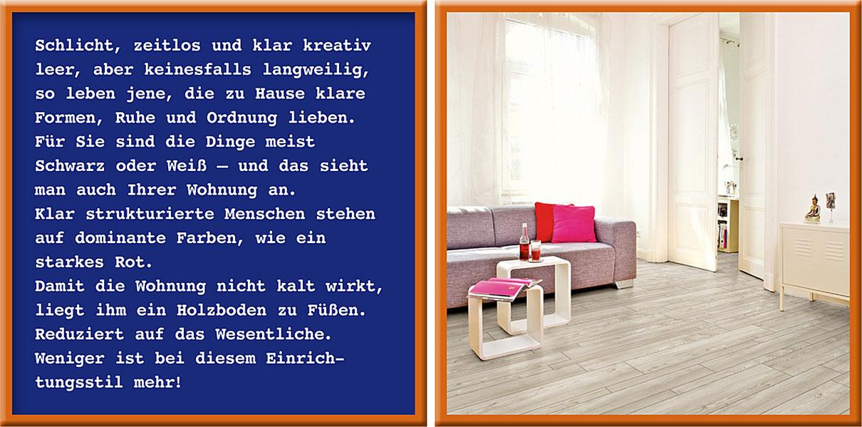 Zwei Rahmen: Links Text über den Purist. Rechts Wohnzimmer mit Holzfußboden und schlichter Einrichtung.