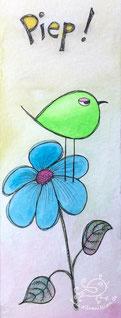 Illustration Piepmatz auf Blume von silvanillion