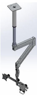 ICWUSA ELP6220シリーズ 天井固定 天吊り 昇降式 ダブル ロングアーム ディスプレイキーボード用アーム ロングアーム  VESAマウント ガススプリング  デュアルディスプレイアーム