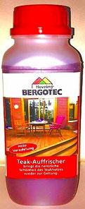Bergotec Teak-Auffrischer - tiefenwirksam - Anwendung nach der Reinigung mit Bergotec Teak-Reiniger gibt die natürliche Schönheit und Farbe des Teak-Holzes zurück